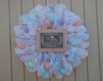 Easter Mesh Wreath, Easter Wreath, Spring Wreath, Happy Easter