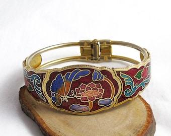 Vintage Cloisonne Enamel Bangle, Butterfly Bangle, Cloisonne Hinged Bangle, Red Enamel Bangle, Clamper Bangle, Hinge Bangle