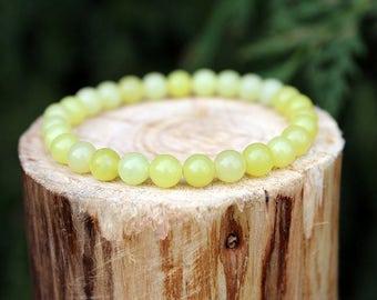 Butter Jade Bracelet, Butter Bead Bracelet, Jade Bracelet, Yellow Bead Bracelet, Gemstone Bracelet, beaded Bracelet, Men's/Women's Bracelet