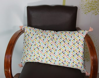 Rectangular Cushion cover, pastel triangles.