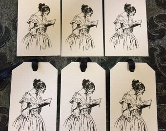 Reading Lady Gift Tags for Bookish People. Set of Six, Finished With Black Ribbon. Literary Gift.
