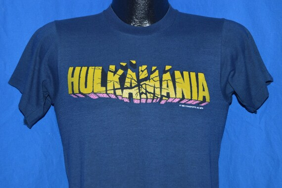80s Hulkamania WWF Wrestling Blue Vintage t-shirt Small