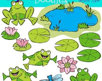 KPM Frogs in a pond Digital Clip art COMBO