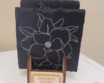 Magnolia slate coaster set