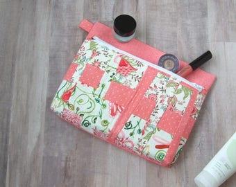 Front zipper pouch - fun cord organizer - makeup bag - travel case - toiletry bag - storage bag - clutch purse - project bag - pink FZip11