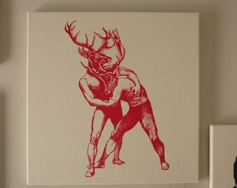 Bucks brawling silk screened cotton canvas wall hanging red natural
