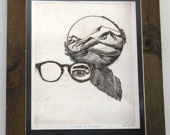 Modern Art // Etching // Hipster // Glasses // Mountains // Natural // Caught at The Peak