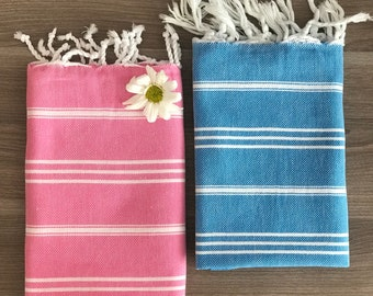 Set of 2 Turkish Hand Towel, Head Towel, Peshkir, Tea Towel, Baby towel for him for her, Wedding, Mother days, kitchen, garden, pink blue