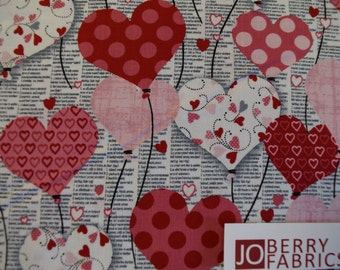 Heart Balloons from The Dear Heart Collection by Studio E.  Quilt or Craft Fabric, Fabric by the Yard.