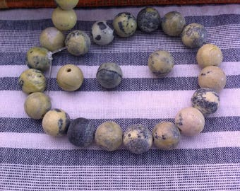 4 marbled green yellow turquoise, 10 mm gemstone beads