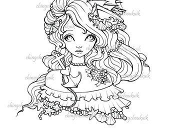 Bon Voyage My Love - Digital Stamp Instant Download / Sail Boat Heart Ocean Tattoo Love Girl Vintage Fantasy Fairy Art by Ching-Chou Kuik