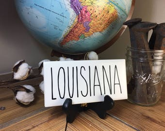Rae Dunn Inspired LOUISIANA State Sign Farmhouse Style Home Decor Rae Dunn Sign Farmhouse Sign Fixer Upper Decor Farm Decor