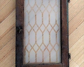 Rustic Cupboard Door Etched Glass Crazed Paint Multi Layers Oak Grain Rusty Intact Hardware