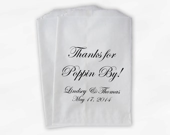 Thanks for Poppin By Popcorn Bags - Custom Candy Buffet Favor Bags for Wedding, Birthday, Shower - Paper Treat Bags (0074)