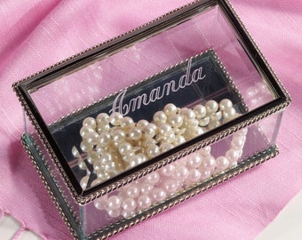 Glass Jewelry Box (c150-1114M) - Free Personalization