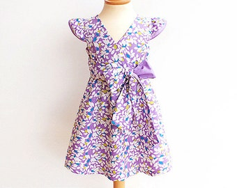 FAIRY Girl Dress pattern Pdf sewing, Flutter Sleeve Dress, Wrap Dress, toddler, size 3 4 5 6 7 8 9 10 yrs Instant Download