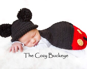 Instant Download Crochet Pattern - Mickey Mouse Hat & Cape Set - Newborn Prop - Disney