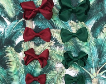 New for 2017 // Cranberry + Kale Butterfly Bows // Modern Bows // Bowtie Hair Clips // Holiday Hair Bows