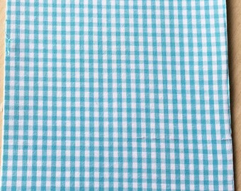 Fabric adhesive pattern: turquoise gingham 200 x 150 mm (A5)