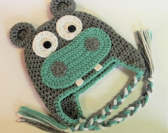 Crochet Hippopotamus Hat - Your Color Choice - Made To Order