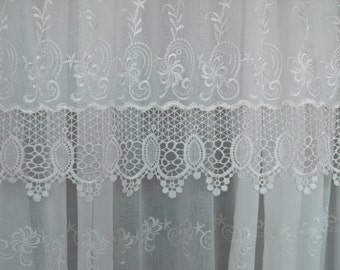 vintage antique french curtains panels nonsensical home lace curtain ecru interior cream