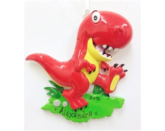 Red Tyrannosaurus Rex Dinosaur Personalized Christmas Ornament / Custom Names or Message / Stocking Stuffer