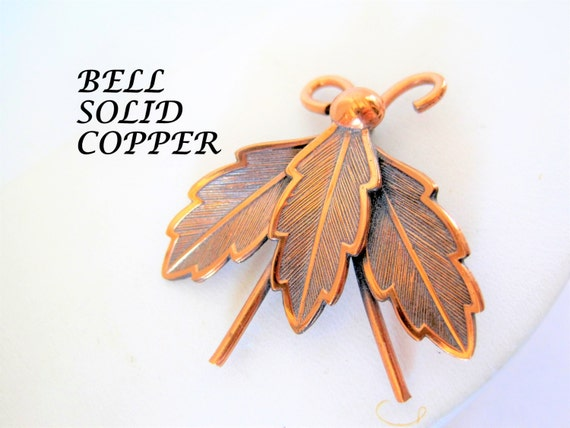 Copper Bug Brooch, Signed Bell Trading Post, Solid Copper, Lovely Lapel Pin