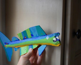 Funky Fish Art - Whimsical Colorful Blue, Green Painted Recycled Wood Fish Original Ready to Hang Handmade Art Creation