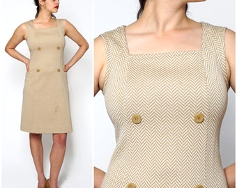 Vintage 1960's Wool Sleeveless Tan Herringbone Mod A-Line Shift Dress by Marchesa di Gresy for I. Magnin | Medium/Large