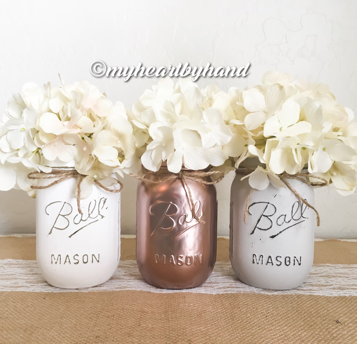 Ball Jar Wedding Decorations: Rose Gold White Light Gray Mason Jar Centerpieces Rustic Home