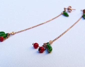 Long Rose Gold Micro cherries earrings