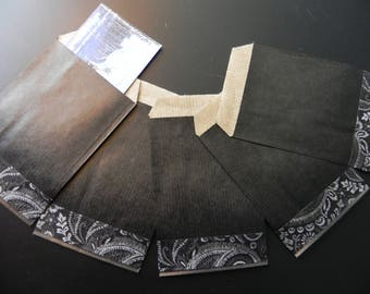 40 black kraft pockets 7 x 12 cm decorated masking tape black
