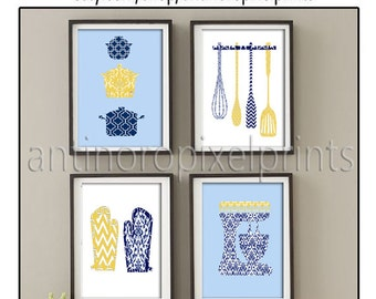 Damask Kitchen Tools Navy Blue Mustard Yellow White Art Collection  -Set of (4) - 8x10 Prints (Unframed)