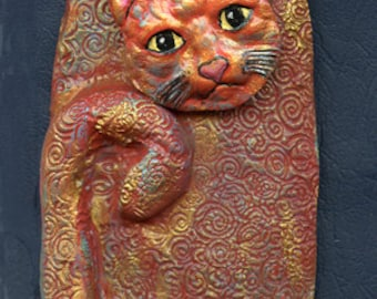 Polymer Clay  3  3/4 Inch  One of a Kind Abstract Cat 2 D  ABCAT11