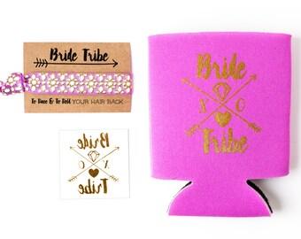 Orchid Bride Tribe Bachelorette Gift Set   Metallic Gold Tattoo, Hair Tie + Drink Cooler   Purple Bachelorette Party Favor