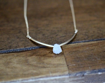 Moonstone Curved Bar Necklace in Gold or Rose Gold , Modern White June Birthstone Gemstone Jewelry , Handmade Gifts - Valkyrie