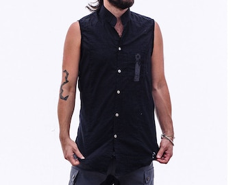 Black Men's Tank, Men's Black Top, Men's Button Shirt, Men's Tank Top, Sleeveless Shirt, Men's Button Top, Men's Boho Top, Burning Man Men