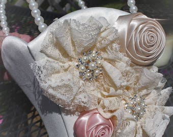 WHITE or IVORY Satin Flower Girl Basket with Lace and Satin Flowers-Blush Accent, Rhinestones and Pearls-Custom Accent Colors Available