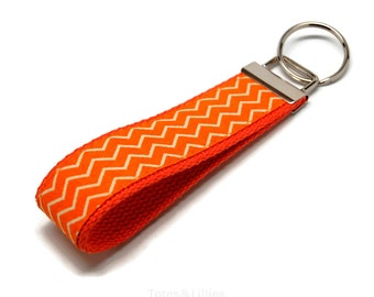Orange White Chevron Fabric on Orange Webbing Key Fob Keychain