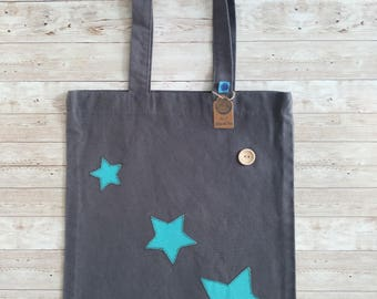 Tote bag. Grey with blue stars