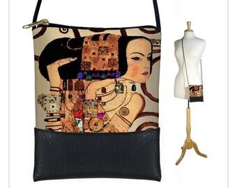 Petit sac à main corps Croix, Mini sac à bandoulière, sac à bandoulière w / long cordon du bracelet, sac Boho, Art Bag, sac à main en cuir Vegan de Klimt attentes RTS