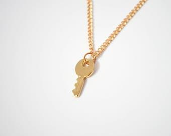 Dainty Key Necklace / Gold Key Charm Necklace / Small Key Pendant