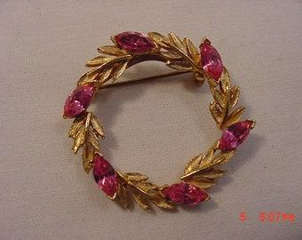 Vintage Pink Rhinestone Circle Brooch  18 - 583