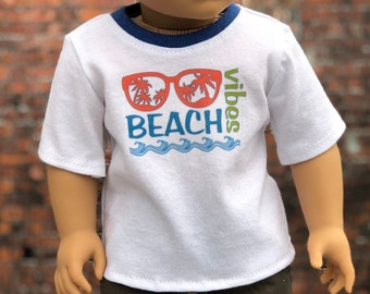 American Boy Doll Clothes - Beach Vibes Graphic BOY Short Sleeve TEE for 18 Inch Doll
