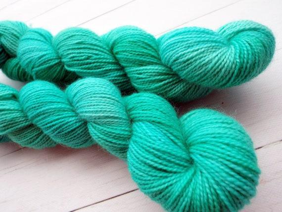 Hand Dyed Sock Yarn Superwash Wool Nylon 80/20 Fingering Weight Yarn Sock Yarn 50 Grams - Tonal Green Yarn - Sea Glass Green Sock Yarn