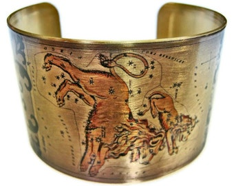 Leo Zodiac Astrology Hoscope cuff bracelet brass Gifts for her