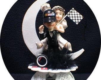 NasCar Hat AUTO MECHANIC Bride & Groom Hot Rod Wedding Cake Topper Wedding Racing Mussel Car Sport sexy Funny Groom top