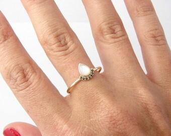 Black Diamond & Mother of Pearl Ring, Engagement Gold Ring, Simple Gold Ring, Pear Engagement Ring, Black Diamond Ring