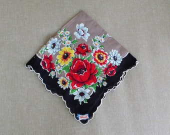 Burmel Vogue Handkerchief of the Month Brown with Flowers, Brown Floral Hanky