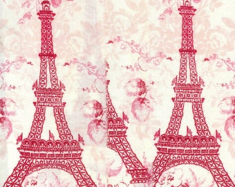 wide valentine christmas red  Eiffel tower Paris France  hand torn ribbon 3.5 wide  . 12 751 . ....oohlala